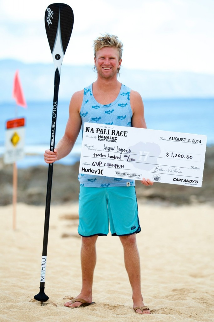 Andrew Logreco wins the Na Pali Race for Mens SUP.